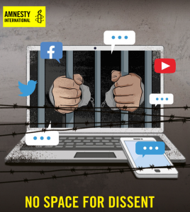 Image of hands on prison bars on a laptop screen, with social media images. Text: no space for dissent