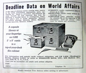 """Indiamos, A capsule library at your fingertips - An ad in the front of """"The Annals"""". https://flic.kr/p/6KqKtn. CC BY-NC"""