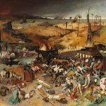 O triunfo da morte Por Pieter Bruegel, o Velho, descreve uma cena imaginada da Peste Negra