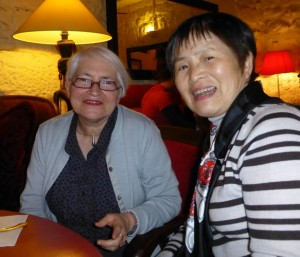 Annie Dourent and Hitomi Takeuchi at dinner