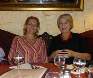 Suzanne Payette and Marion Morgan-Bindon at dinner